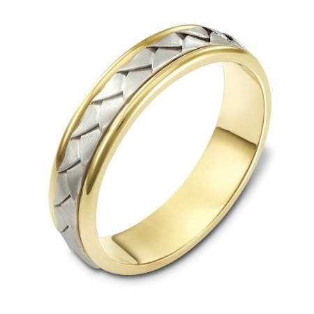 Item # 110741E - 18 kt hand made comfort fit Wedding Band 5.0 mm wide. The ring has a handmade braid in the center with a brush finish. The edges are polished. Different finishes may be selected or specified.