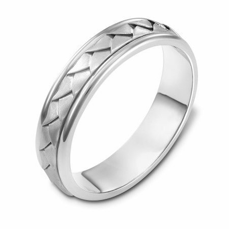 Item # 110741WE - 18kt hand made comfort fit Wedding Band 5.0 mm wide. The ring has a handmade braid in the center with a brush finish. The edges are polished. Different finishes may be selected or specified.