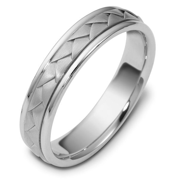 Item # 110751PP - Platinum hand made comfort fit Wedding Band 5.0 mm wide. The ring has a handmade braid in the center with a brush finish. The edges are polished. Different finishes may be selected or specified.