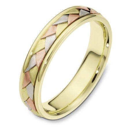 Item # 110771 - 14 kt hand made tri-color comfort fit Wedding Band 5.0 mm wide. The ring has a handmade braid in the center with a brush finish. The edges are polished. Different finishes may be selected or specified.