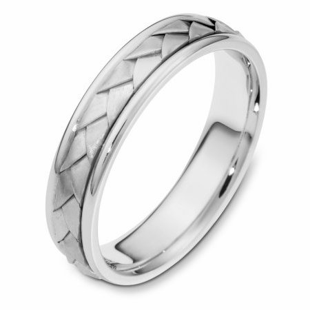 Item # 110771PP - Platinum hand made comfort fit Wedding Band 5.0 mm wide. The ring has a handmade braid in the center with a brush finish. The edges are polished. Different finishes may be selected or specified.
