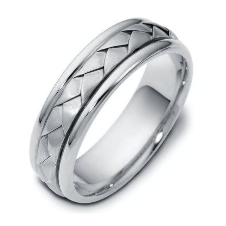 Item # 110781W - 14 kt hand made comfort fit Wedding Band 6.0 mm wide. The ring has a handmade braid in the center with a brush finish. The edges are polished. Different finishes may be selected or specified.