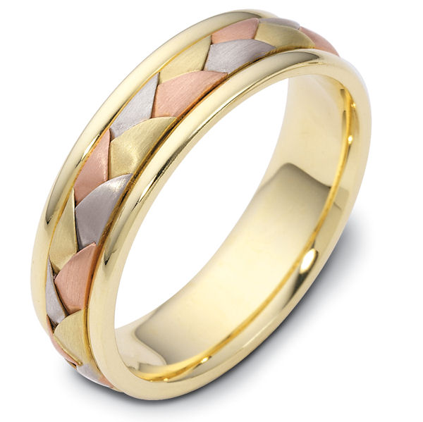 Item # 110791E - 18 kt hand made comfort fit Wedding Band 6.0 mm wide. The ring has a handmade braid in the center with a brush finish. The edges are polished. Different finishes may be selected or specified.