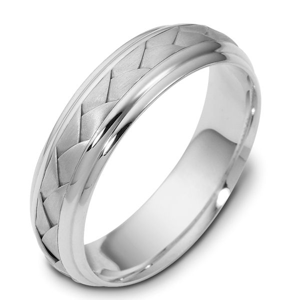 Item # 110801PD - Palladium, hand made comfort fit Wedding Band 5.5 mm wide. The ring has a handmade braid in the center with a brush finish. The edges are polished. Different finishes may be selected or specified.