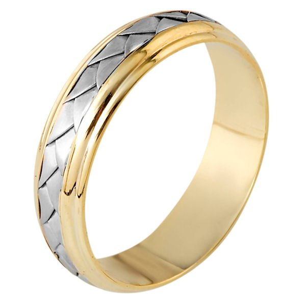 Item # 110811E - 18 kt hand made comfort fit Wedding Band 5.5 mm wide. The ring has a handmade braid in the center with a brush finish. The edges are polished. Different finishes may be selected or specified.
