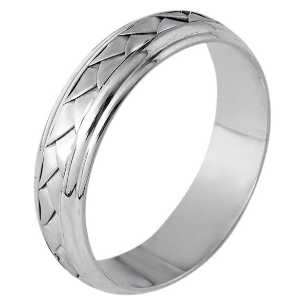 Item # 110811PP - Platinum hand made comfort fit Wedding Band 5.5 mm wide. The ring has a handmade braid in the center with a brush finish. The edges are polished. Different finishes may be selected or specified.