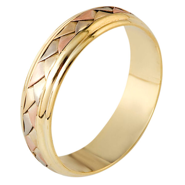 Item # 110821 - 14 kt Hand made comfort fit Wedding Band 5.5 mm wide. The ring has a handmade braid in the center with a brush finish. The edges are polished. Different finishes may be selected or specified.