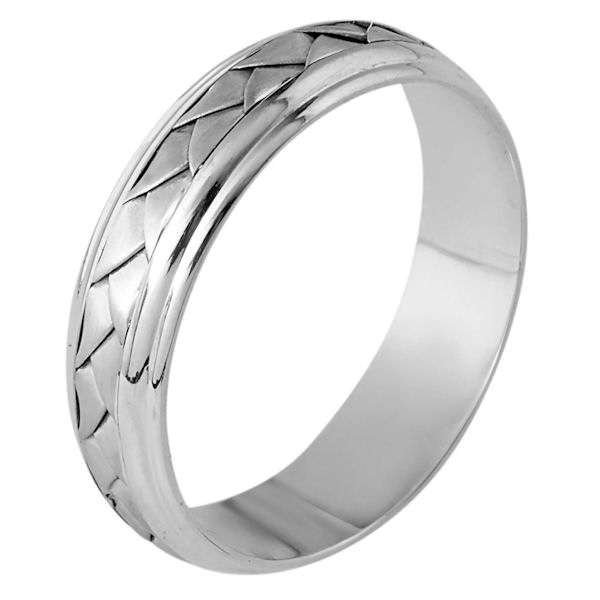 Item # 110821PP - Platinum Hand made comfort fit Wedding Band 5.5 mm wide. The ring has a handmade braid in the center with a brush finish. The edges are polished. Different finishes may be selected or specified.
