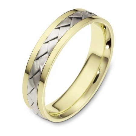 Item # 110831E - 18 kt Hand made comfort fit wedding band 5.0 mm wide. The ring has a handmade braid in the center with a brush finish. The edges are polished. Different finishes may be selected or specified.