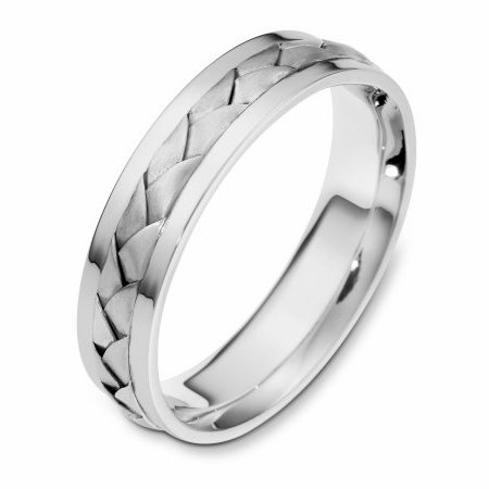 Item # 110841PP - Platinum hand made comfort fit Wedding Band 5.0 mm wide. The ring has a handmade braid in the center with a brush finish. The edges are polished. Different finishes may be selected or specified.