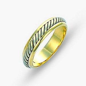 Item # 110851 - 14 kt two-tone hand made comfort fit Wedding Band 4.5 mm wide. The ring has a hand made rope in the center with a brush finish. The edges are polished. Different finishes may be selected or specified.