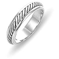 14K White Gold Comfort Fit 4.5mm Handmade Wedding Band