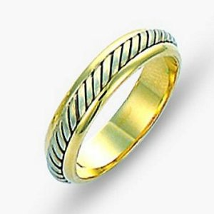 Item # 110851E - 18 kt two-tone hand made comfort fit Wedding Band 4.5 mm wide. The ring has a hand made rope in the center with a brush finish. The edges are polished. Different finishes may be selected or specified.