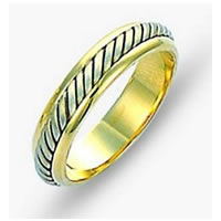 Item # 110851E - Two-Tone Gold Comfort Fit Wedding Band