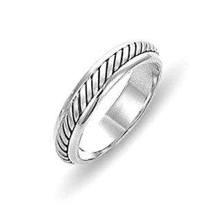 Item # 110851W - 14 kt white gold, hand made comfort fit Wedding Band 4.5 mm wide. The ring has a hand made rope in the center with a brush finish. The edges are polished. Different finishes may be selected or specified.