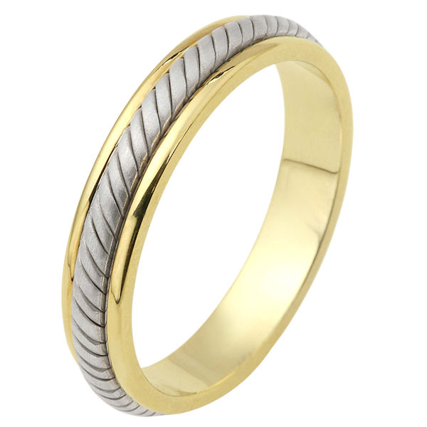 Item # 110861 - 14 kt two-tone hand made comfort fit Wedding Band 5.0 mm wide. The ring has a hand made rope in the center with a brush finish. The edges are polished. Different finishes may be selected or specified.