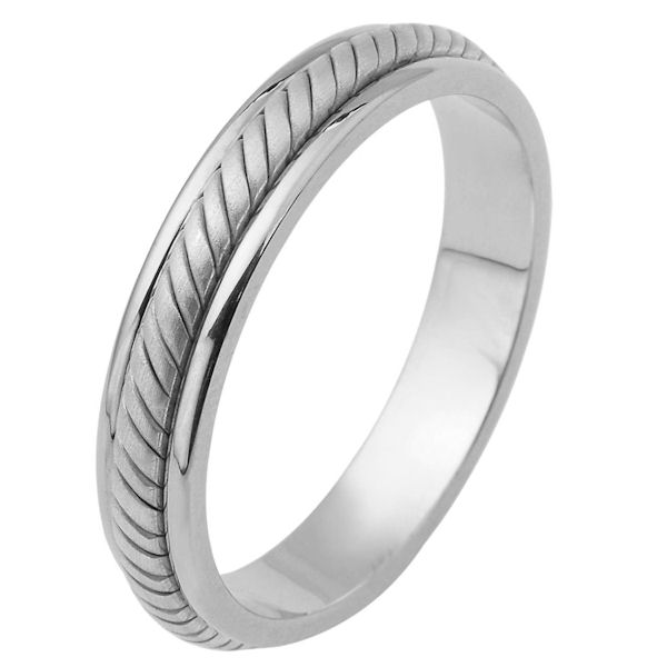 Item # 110861WE - 18 kt white gold, hand made comfort fit Wedding Band 5.0 mm wide. The ring has a hand made rope in the center with a brush finish. The edges are polished. Different finishes may be selected or specified.