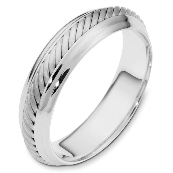 Item # 110871W - 14 kt white gold, hand made comfort fit Wedding Band 5.5 mm wide. The ring has a hand made rope in the center with a brush finish. The edges are polished. Different finishes may be selected or specified.