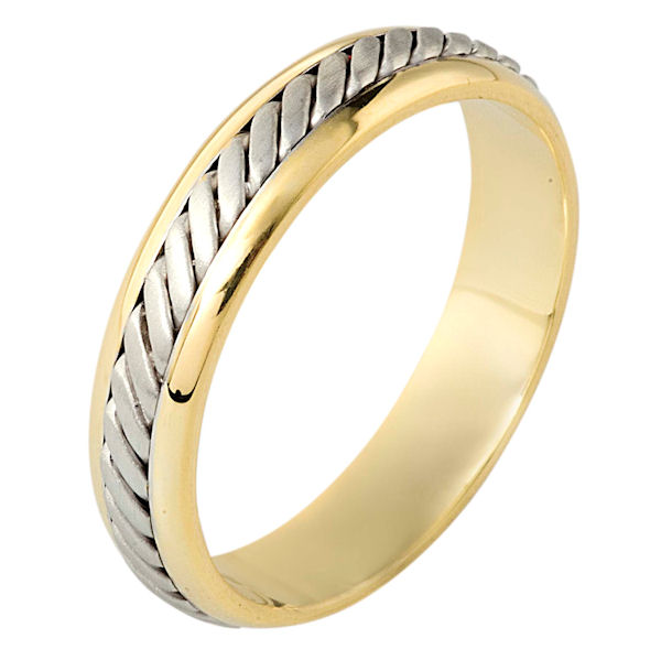 Item # 110881E - 18 kt two-tone hand made comfort fit Wedding Band 4.5 mm wide. The ring has a hand made pattern in the center with a brush finish. The edges are polished. Different finishes may be selected or specified.