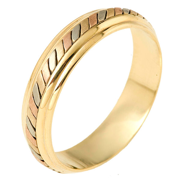 Item # 110901 - 14 kt tri-color hand made comfort fit Wedding Band 5.5 mm wide. The ring has a hand made pattern in the center with a brush finish. The edges are polished. Different finishes may be selected or specified.