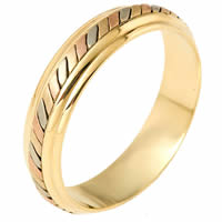 14K Tri-Color Gold Comfort Fit 5.5mm Wedding Ring
