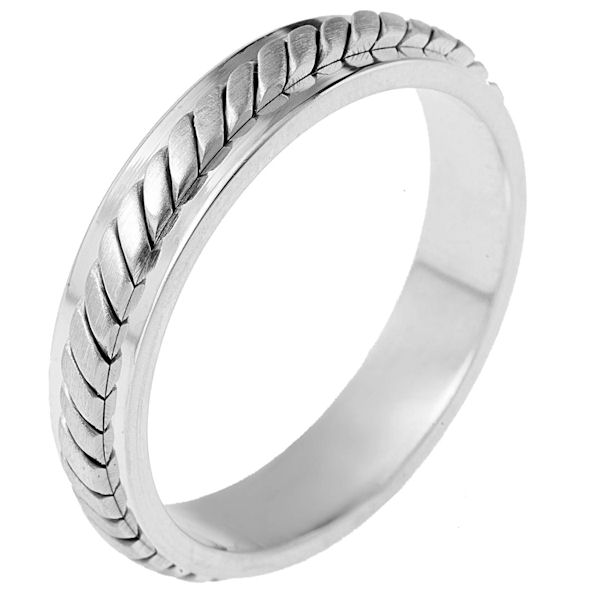 Item # 110911PP - Platinum hand made comfort fit Wedding Band 5.0 mm wide.The ring has a hand made pattern in the center with a brush finish. The edges are polished. Different finishes may be selected or specified.