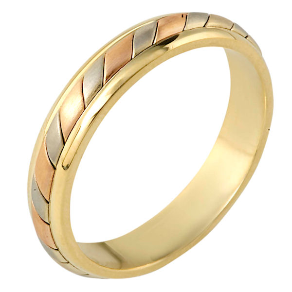 Item # 110921E - 18 kt two-tone hand made comfort fit Wedding Band 4.5 mm wide. The ring has a hand made pattern in the center with a matte finish. The edges are polished. Different finishes may be selected or specified.