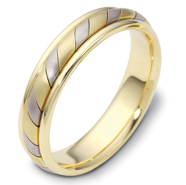 Item # 110931E - 18 kt two-tone hand made comfort fit Wedding Band 5.0 mm wide. The ring has a hand made pattern in the center with a matte finish. The edges are polished. Different finishes may be selected or specified.