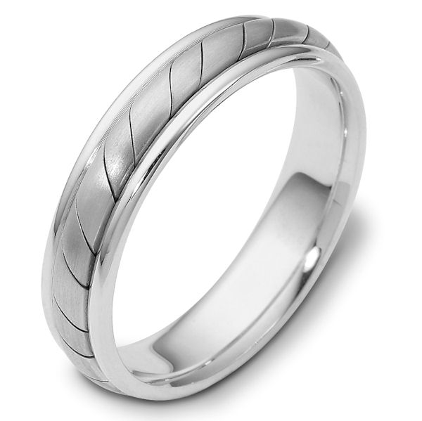Item # 110931W - 14 kt white gold, hand made comfort fit Wedding Band 5.0 mm wide. The ring has a hand made pattern in the center with a matte finish. The edges are polished. Different finishes may be selected or specified.