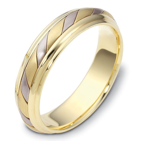 Item # 110951E - 18 kt two-tone hand made comfort fit Wedding Band 5.0 mm wide. The ring has a hand made pattern in the center with a matte finish. The edges are polished. Different finishes may be selected or specified.