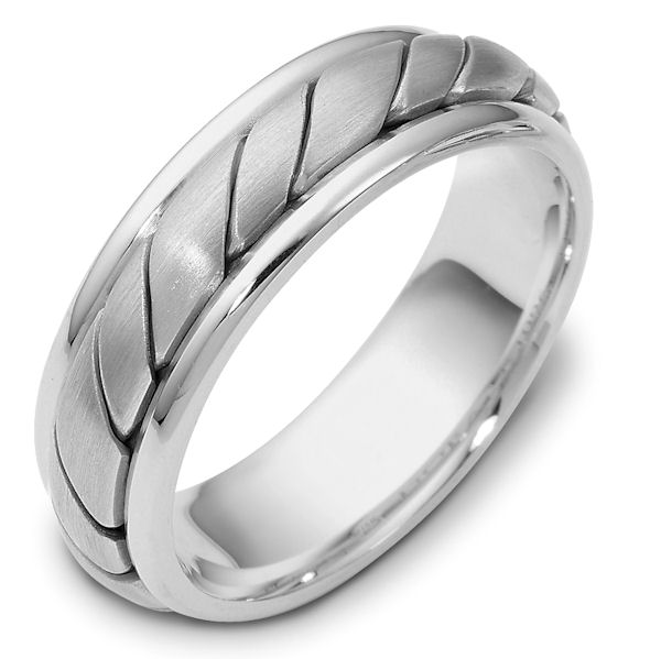 Item # 110961PP - Platinum hand made comfort fit Wedding Band 5.5 mm wide. The ring has a hand made pattern in the center with a brush finish. The edges are polished. Different finishes may be selected or specified.
