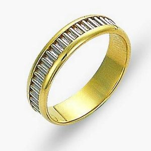 Item # 110971E - 18 kt two-tone hand made comfort fit Wedding Band 5.0 mm wide. The ring has a hand made patter in the center. The ring has a polished finish. Different finishes may be selected.