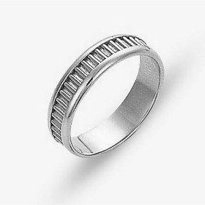Item # 110971WE - 18 kt white gold, hand made comfort fit Wedding Band 5.0 mm wide. The ring has a hand made patter in the center. The ring has a polished finish. Different finishes may be selected.