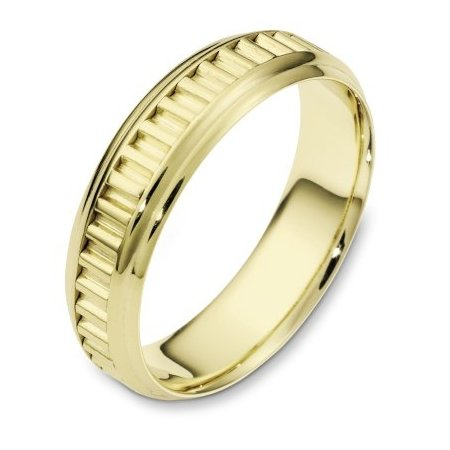 Item # 110981E - 18 kt yellow gold hand made comfort fit Wedding Band 6.0 mm wide. The ring has a hand made patter in the center. The ring has a polished finish. Different finishes may be selected.