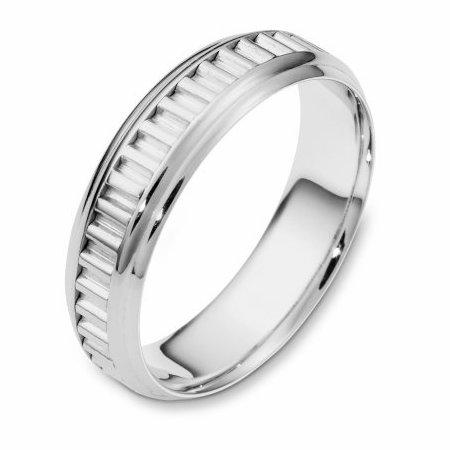 Item # 110981W - 14 kt white gold, hand made comfort fit Wedding Band 6.0 mm wide. The ring has a hand made patter in the center. The ring has a polished finish. Different finishes may be selected.