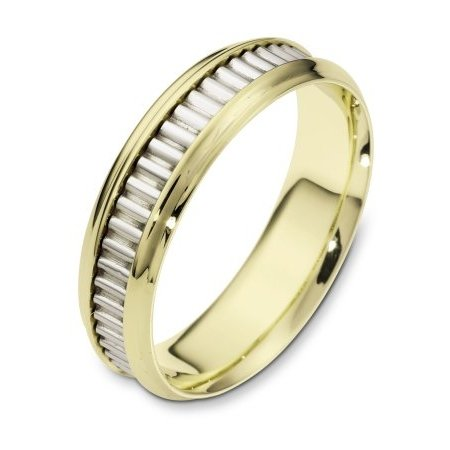 Item # 110991 - 14 kt two-tone hand made comfort fit Wedding Band 6.0 mm wide. The ring has a hand made pattern in the center. The ring has a polished finish. Different finishes may be selected.