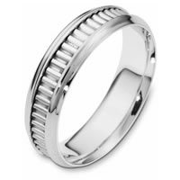14K White Gold Comfort Fit, 6.0mm Wide Wedding Band