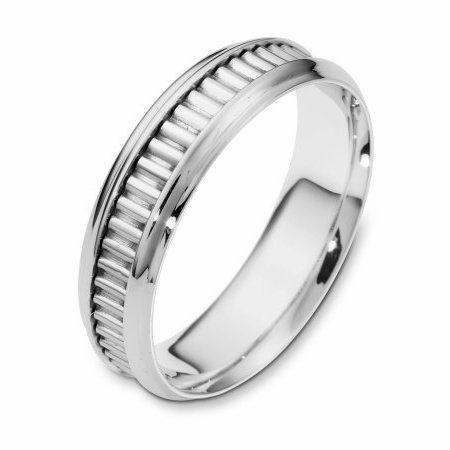 Item # 110991W - 14 kt white gold, hand made comfort fit Wedding Band 6.0 mm wide. The ring has a hand made pattern in the center. The ring has a polished finish. Different finishes may be selected.