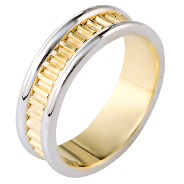 Item # 111001 - 14 kt two-tone hand made comfort fit Wedding Band 7.0 mm wide. The ring has a hand made pattern in the center. The ring has a polished finish. Different finishes may be selected.