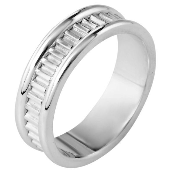 Item # 111001W - 14 kt white gold, hand made comfort fit Wedding Band 7.0 mm wide. The ring has a hand made pattern in the center. The ring has a polished finish. Different finishes may be selected.