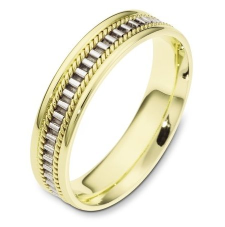 Item # 111011E - 18 kt two-tone hand made comfort fit Wedding Band 5.0 mm wide. The ring has a hand made pattern in the center with one hand made rope on each side of the pattern. The whole ring is polished. Different finishes may be selected or specified.
