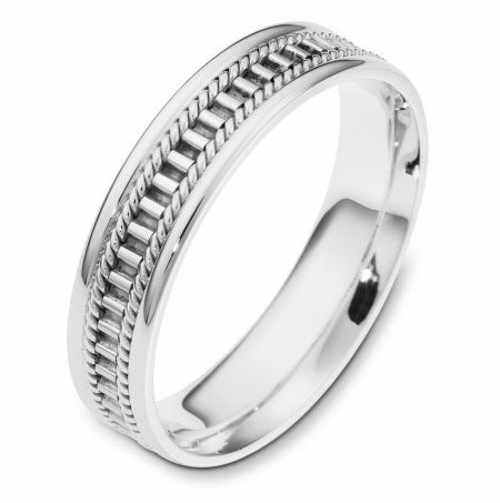 Item # 111011W - 14 kt white gold, hand made comfort fit Wedding Band 5.0 mm wide. The ring has a hand made pattern in the center with one hand made rope on each side of the pattern. The whole ring is polished. Different finishes may be selected or specified.