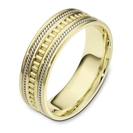 Item # 111021 - 14kt two-tone hand made comfort fit Wedding Band 7.0 mm wide. The ring has a hand made pattern in the center and two hand made ropes inlayed in the band. The whole ring is polished. Different finishes may be selected or specified.