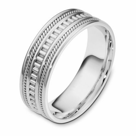 Item # 111021WE - 18 kt white gold, hand made comfort fit Wedding Band 7.0 mm wide. The ring has a hand made pattern in the center and two hand made ropes inlayed in the band. The whole ring is polished. Different finishes may be selected or specified.