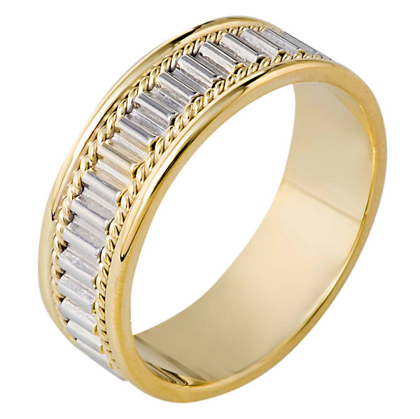 Item # 111041 - 14 kt two-tone hand made comfort fit Wedding Band 7.0 mm wide. The ring has a hand made pattern in the center with one hand made rope on each side. The whole ring is polished. Different finishes may be selected or specified.