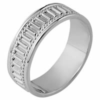 18K White Gold Comfort Fit, 7.0mm Wide Wedding Band