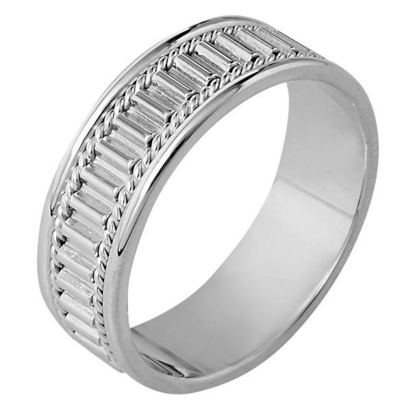 Item # 111041W - 14 kt white gold, hand made comfort fit Wedding Band 7.0 mm wide. The ring has a hand made pattern in the center with one hand made rope on each side. The whole ring is polished. Different finishes may be selected or specified.