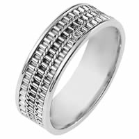 14K White Gold Comfort Fit, 6.5mm Wide Wedding Band