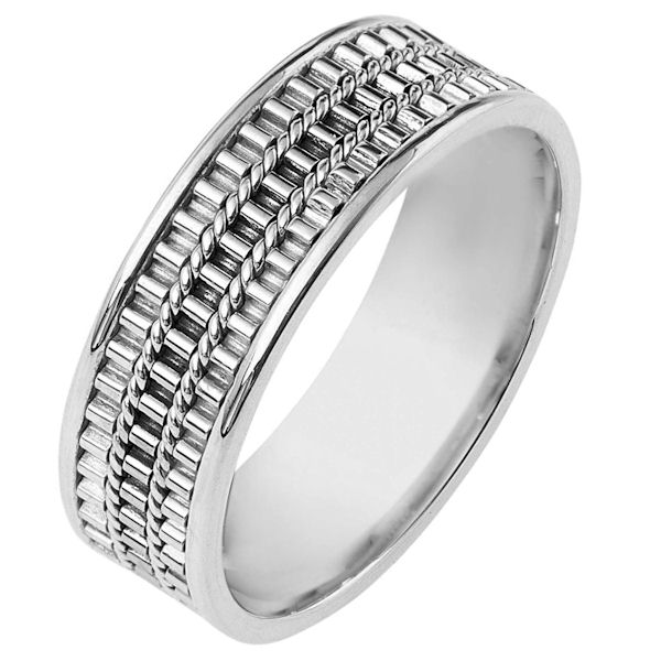 Item # 111051WE - 18 kt white gold, hand made comfort fit Wedding Band 6.5 mm wide. Three hand made patterns in the center. The whole ring is polished. Different finishes may be selected or specified.