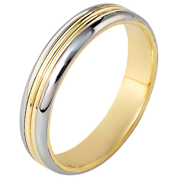 Item # 111061PE - 18 kt and platinum two-tone hand made comfort fit wedding band 5.0 mm wide. The whole ring is polished. Different finishes may be selected or specified.